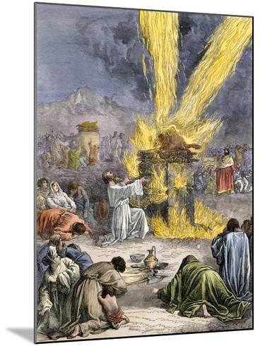Prophet Elijah Invoking Yahweh over Baal's Priests on Mount Carmel--Mounted Giclee Print