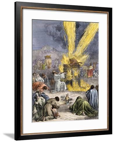 Prophet Elijah Invoking Yahweh over Baal's Priests on Mount Carmel--Framed Art Print