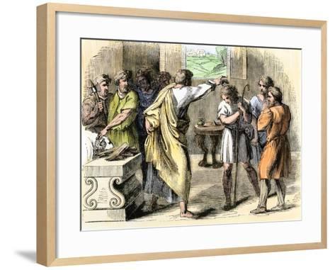 Samuel Annointing David King of Judah and Israel--Framed Art Print