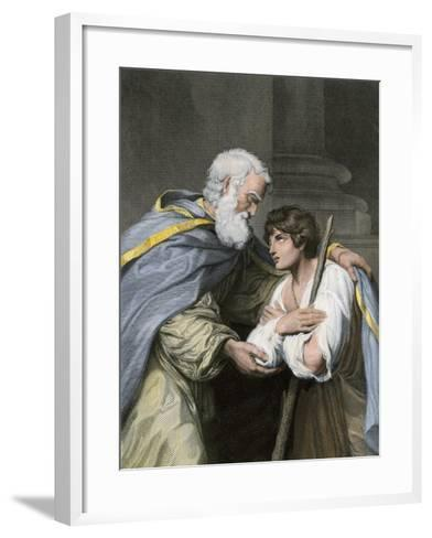 Prodigal Son Returns Home and Asks His Father's Forgiveness, a Parable in the Biblical Book of Luke--Framed Art Print