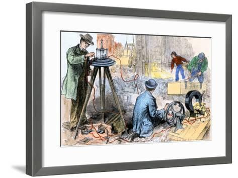 Workers Testing the Insulation of Electric Wires Going in the Streets of New York City, 1882--Framed Art Print
