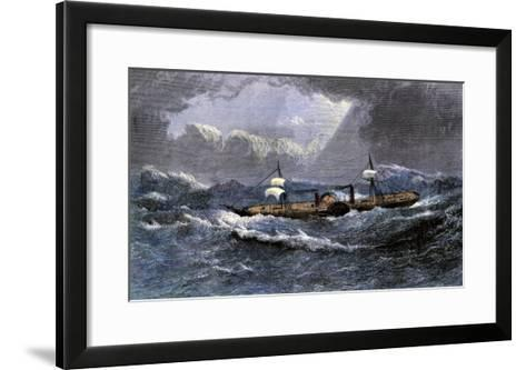 """The """"Scotia,"""" Last of the Cunard Line's Paddlewheel Steamers--Framed Art Print"""