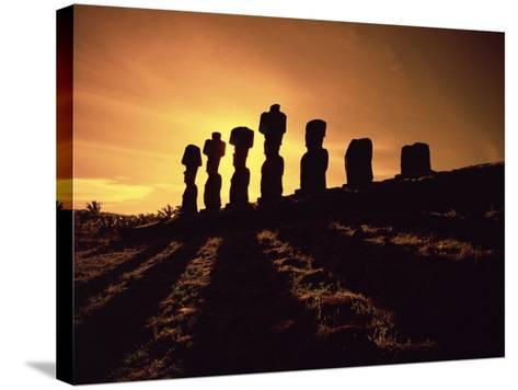 Easter Island Landscape with Giant Moai Stone Statues at Sunset, Oceania-George Chan-Stretched Canvas Print