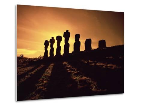 Easter Island Landscape with Giant Moai Stone Statues at Sunset, Oceania-George Chan-Metal Print