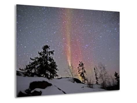 Northern Lights During Snow, Northwest Territories, March 2008, Canada-Eric Baccega-Metal Print