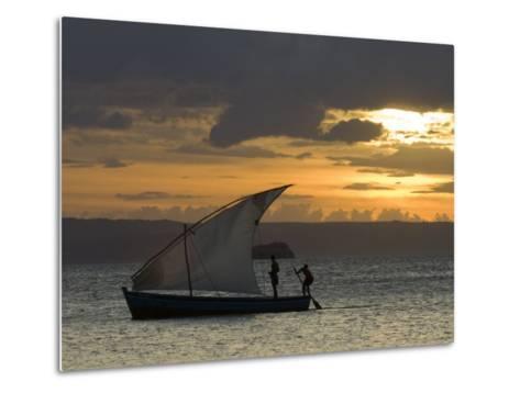 Fishing Boat at Dawn, Ramena Beach, Diego Suarez in North Madagascar-Inaki Relanzon-Metal Print