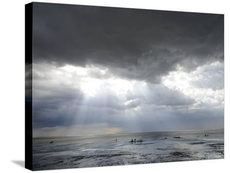 The Wash, Norfolk, Beach Landscape with Storm Clouds and Bait Diggers, UK-Gary Smith-Stretched Canvas Print