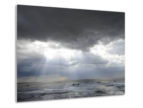 The Wash, Norfolk, Beach Landscape with Storm Clouds and Bait Diggers, UK-Gary Smith-Metal Print
