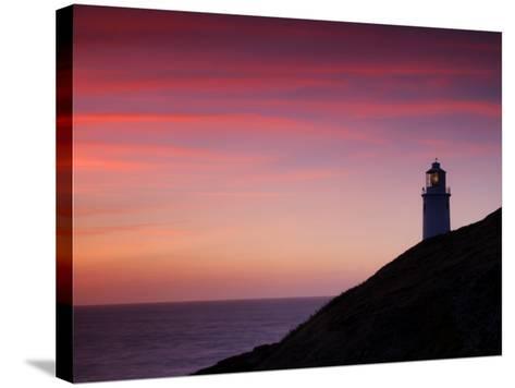 Trevose Lighthouse at Sunset, Near Padstow, Cornwall, Uk. July 2008-Ross Hoddinott-Stretched Canvas Print
