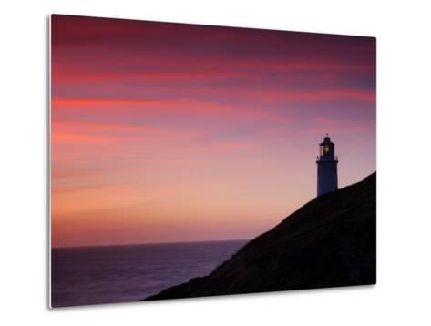 Trevose Lighthouse at Sunset, Near Padstow, Cornwall, Uk. July 2008-Ross Hoddinott-Metal Print
