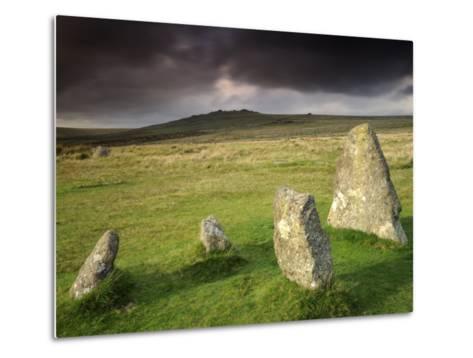 Merrivale Stone Row, Stormy Evening, Dartmoor Np, Devon, Uk. September 2008-Ross Hoddinott-Metal Print