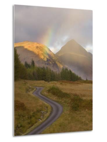 Mountain Road with Rainbow in Glen Etive, Argyll, Scotland, UK, October 2007-Niall Benvie-Metal Print