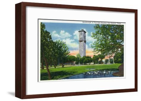 San Antonio, Tx - Exterior View of the Clock Tower from the Fort Sam Houston Quadrangle, c.1944-Lantern Press-Framed Art Print