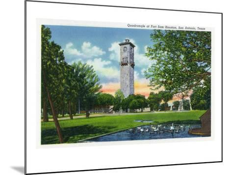 San Antonio, Tx - Exterior View of the Clock Tower from the Fort Sam Houston Quadrangle, c.1944-Lantern Press-Mounted Art Print