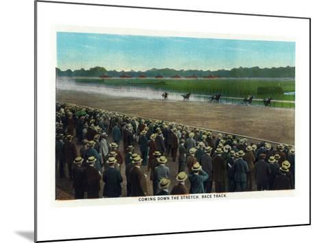 Saratoga Springs, New York - View of Horses Racing Down the Race Track Stretch, c.1914-Lantern Press-Mounted Art Print