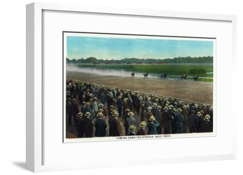 Saratoga Springs, New York - View of Horses Racing Down the Race Track Stretch, c.1914-Lantern Press-Framed Art Print