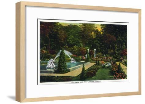 Saratoga Springs, New York - City Park Scene of the Italian Rose Garden, c.1914-Lantern Press-Framed Art Print