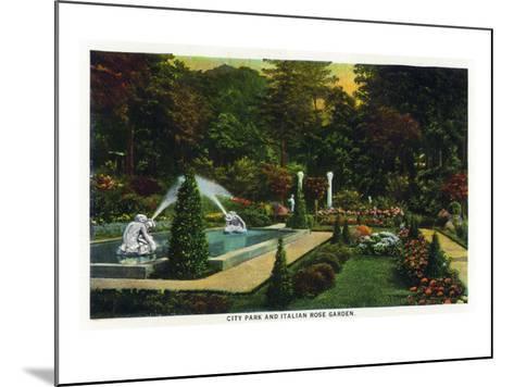 Saratoga Springs, New York - City Park Scene of the Italian Rose Garden, c.1914-Lantern Press-Mounted Art Print