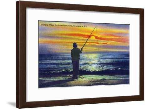 Keansburg, New Jersey - View of a Fisherman Fishing on the Shore During a Sunset, c.1937-Lantern Press-Framed Art Print