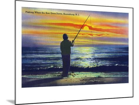 Keansburg, New Jersey - View of a Fisherman Fishing on the Shore During a Sunset, c.1937-Lantern Press-Mounted Art Print