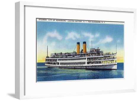 """Battery, New York - View of the Steamer """"City of Keansburg"""" Heading Towards Keansburg, Nj, c.1937-Lantern Press-Framed Art Print"""