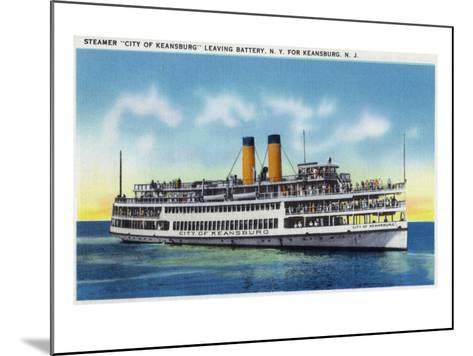 "Battery, New York - View of the Steamer ""City of Keansburg"" Heading Towards Keansburg, Nj, c.1937-Lantern Press-Mounted Art Print"