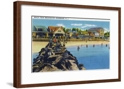 Keansburg, New Jersey - View of the Beach from Breakwater, c.1937-Lantern Press-Framed Art Print