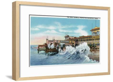 Galveston, Texas - View of the Great Seawall Protecting the City, c.1942-Lantern Press-Framed Art Print