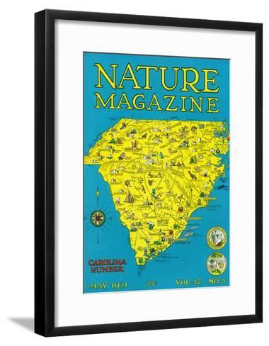 Nature Magazine - Detailed Map of North and South Carolina States with Scenic Spots to Visit-Lantern Press-Framed Art Print