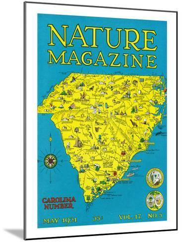 Nature Magazine - Detailed Map of North and South Carolina States with Scenic Spots to Visit-Lantern Press-Mounted Art Print