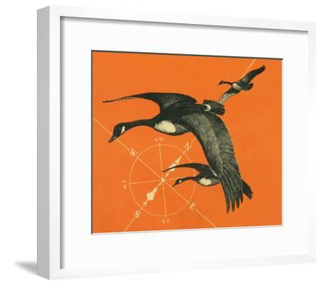 Nature Magazine - View of Canadian Geese Flying South, c.1949-Lantern Press-Framed Art Print