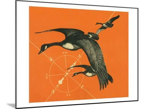 Nature Magazine - View of Canadian Geese Flying South, c.1949-Lantern Press-Mounted Art Print