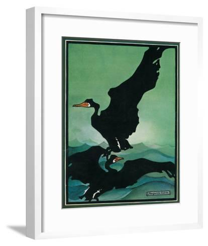 Nature Magazine - View of a Pair of Black Swans in Flight, c.1931-Lantern Press-Framed Art Print