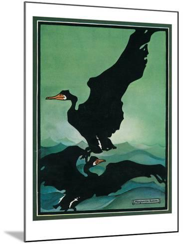 Nature Magazine - View of a Pair of Black Swans in Flight, c.1931-Lantern Press-Mounted Art Print