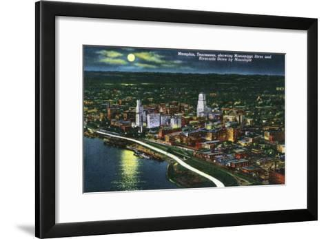 Memphis, Tennessee - Aerial Moonlit View of the City, Riverside Drive and Mississippi River, c.1944-Lantern Press-Framed Art Print
