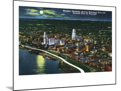 Memphis, Tennessee - Aerial Moonlit View of the City, Riverside Drive and Mississippi River, c.1944-Lantern Press-Mounted Art Print