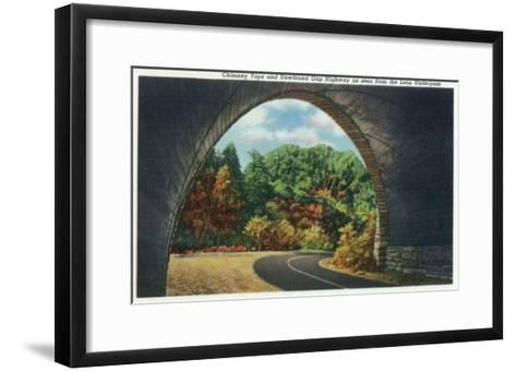 Great Smoky Mts. Nat'l Park, Tn - Autumn Scene from the Newfound Gay Hwy Loop Underpass, c.1940-Lantern Press-Framed Art Print