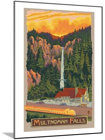 Multnomah Falls View with Train, c.2009-Lantern Press-Mounted Art Print