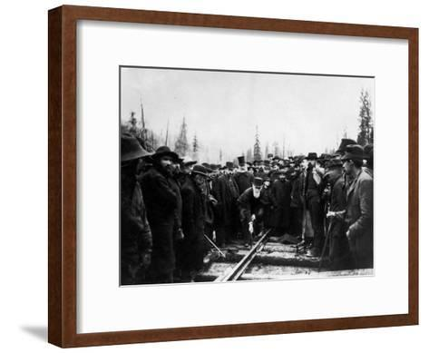Unident. Man Driving in Last Spike of Canadian Pacific Railroad--Framed Art Print
