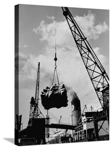 Loading Coffee on a Ship of the American Line, Mccormick--Stretched Canvas Print