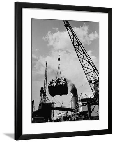 Loading Coffee on a Ship of the American Line, Mccormick--Framed Art Print