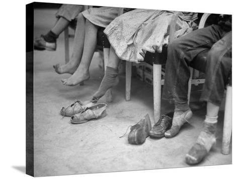 Stamping their Feet, Children from the Avondale Camp Wait to Be Fitted with Free Shoes-Ed Clark-Stretched Canvas Print
