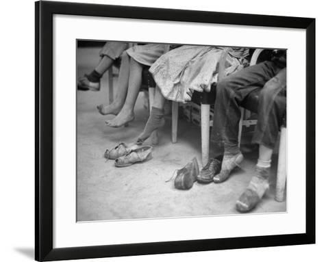 Stamping their Feet, Children from the Avondale Camp Wait to Be Fitted with Free Shoes-Ed Clark-Framed Art Print