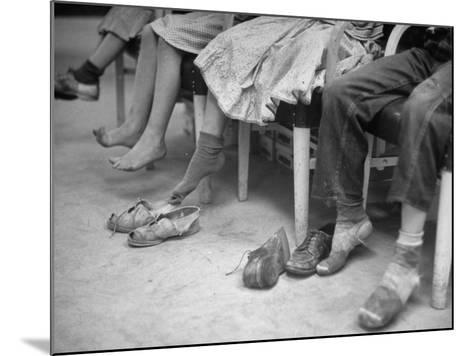 Stamping their Feet, Children from the Avondale Camp Wait to Be Fitted with Free Shoes-Ed Clark-Mounted Photographic Print