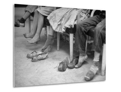 Stamping their Feet, Children from the Avondale Camp Wait to Be Fitted with Free Shoes-Ed Clark-Metal Print