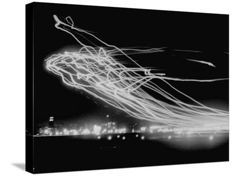 The Pattern Made by Landing Lights of Planes in 20 Minute Time Exposure at La Guardia Airport-Andreas Feininger-Stretched Canvas Print
