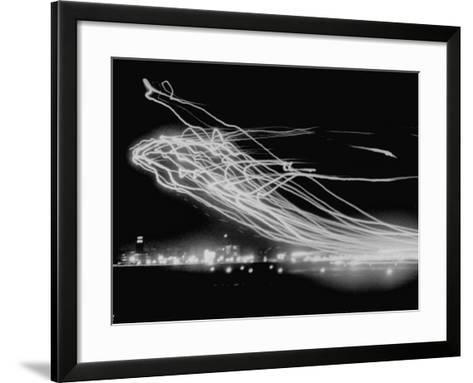 The Pattern Made by Landing Lights of Planes in 20 Minute Time Exposure at La Guardia Airport-Andreas Feininger-Framed Art Print
