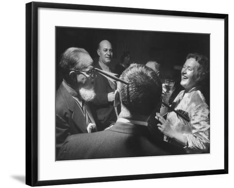 Writers at Cocktail Party of Mystery Writers of America-Yale Joel-Framed Art Print