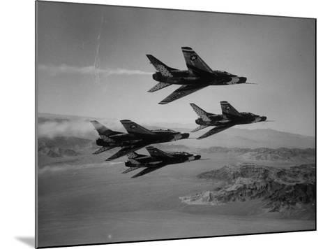 Thunderbirds in F-100's Flying in Formation-Ralph Crane-Mounted Photographic Print