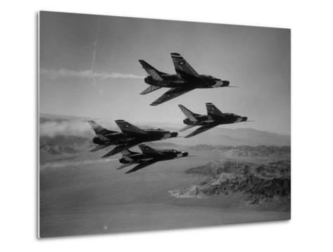 Thunderbirds in F-100's Flying in Formation-Ralph Crane-Metal Print